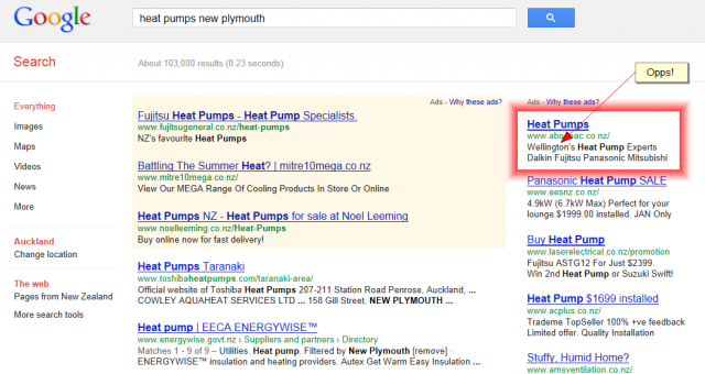 adwords mistake with location