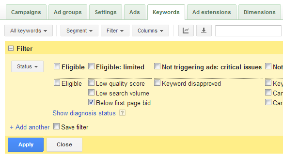 Image showing how to set up AdWords first page bid filter