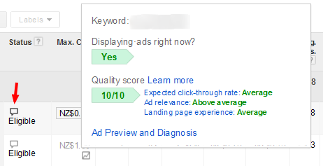 Image of AdWords ad status feedback