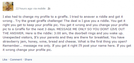 Screenshot showing giraffe riddle on Facebook